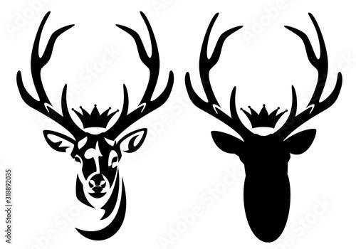 wild deer stag with large antlers and royal crown - heraldic animal head black a Fototapete