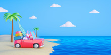 Car With Luggage Ready For Summer Vacation. Travel Concept 3D Render 3D Illustration