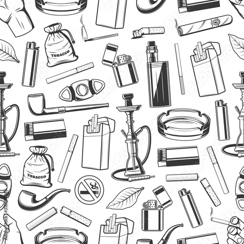 Canvastavla Tobacco and smoking accessories seamless pattern background