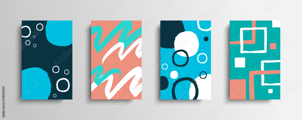 Fototapeta Collection of covers with color brush strokes. Set of artistic creative cards with hand drawn shapes. Vector illustration.