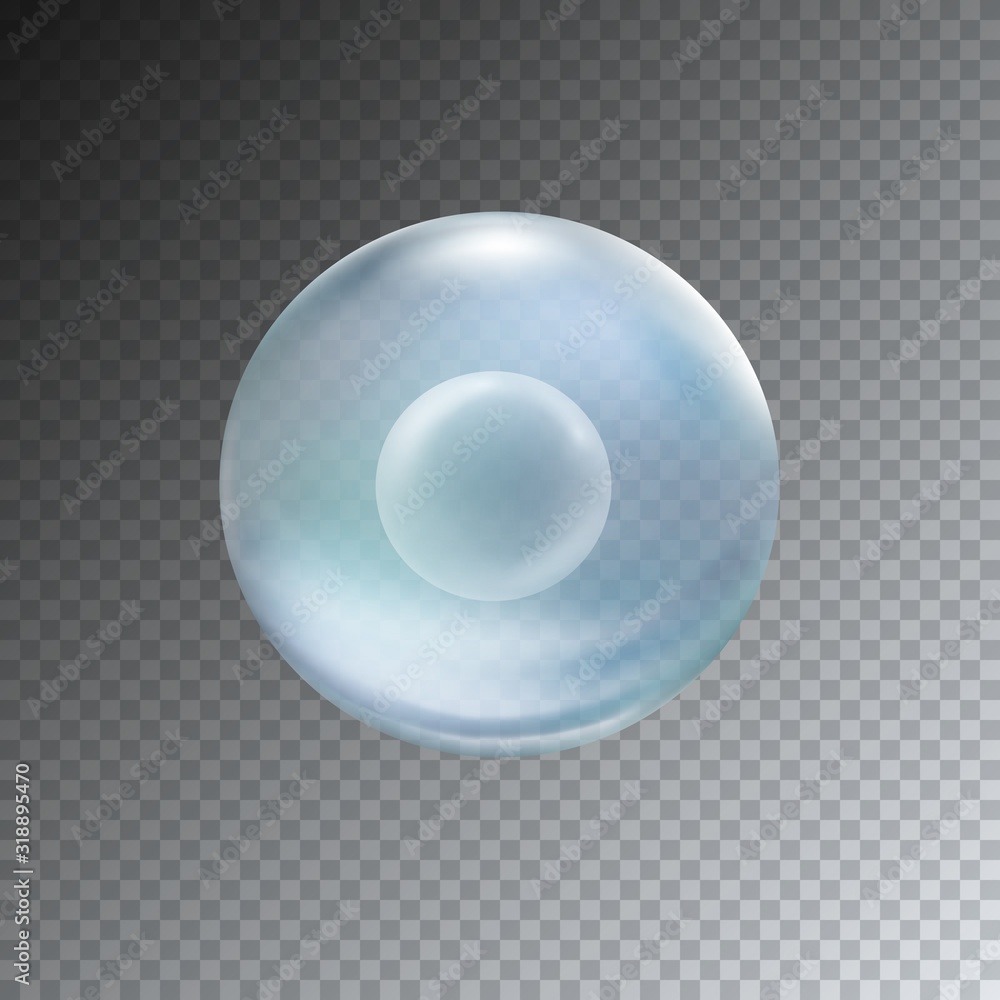 Fototapeta Cell stem isolated on transparent background. Vector medical microscopic molecular illustration. Biology 3d research dna nucleus particles patern..