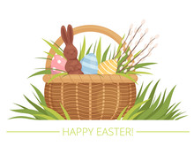 Easter Basket With Painted Eggs, Willow And Chocolate Rabbit. Cartoon Flat Vector Illustration.
