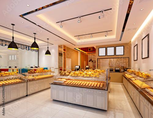 Fototapeta 3d render of bakery cafe restaurant obraz