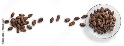 Fototapeta Cocoa beans on a white background. The view from the top obraz