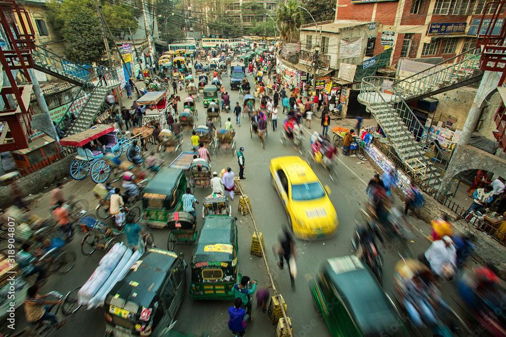 Fototapeta High Angle View Of Crowd On City Street