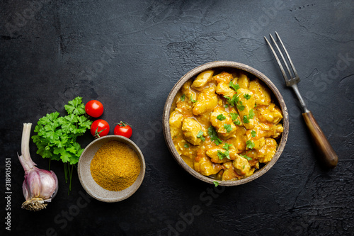 Spicy chicken cooked with curry sauce in a bawl, top view Canvas Print