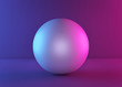 Leinwanddruck Bild - white ball or sphere in neon light, abstract background, blank sphere. minimalism concept. 3d rendering