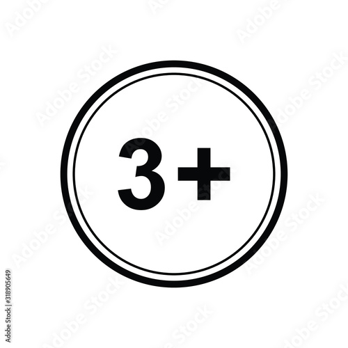 Photo 3 plus icon. black vector 3 + plus sign