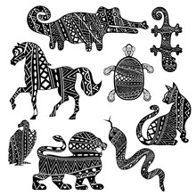 Abstract Animals And Reptiles Ornate With Ethnic Pattern In Black And White.