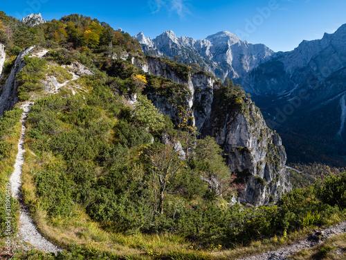 Sunny colorful autumn alpine scene Canvas Print