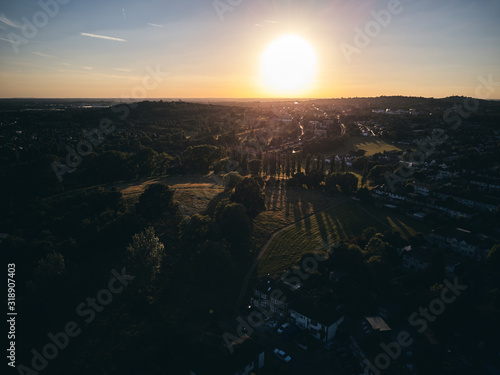 Canvas Print HIGH ANGLE VIEW OF CITYSCAPE AGAINST SKY DURING SUNSET