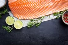 Fresh Raw Salmon Or Trout Sea ...