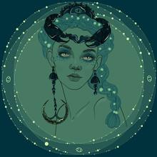 Beautiful Girl Crab Cancer Zodiac Sign Sea Goddess
