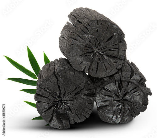 Natural wood charcoal isolated on white background Canvas Print