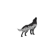 Hand Drawn Howling Wolf And Constellations Textured Vector Illustrations