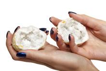 Quartz Geode In Female Hands I...