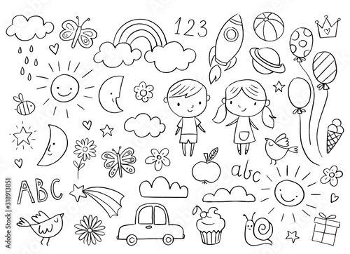 fototapeta na ścianę Vector hand-drawn kids doodle set. Drawings for children on white background. Baby shower related design elements set.