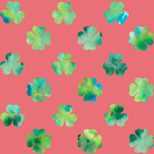 Watercolor Clover Leaves On Re...