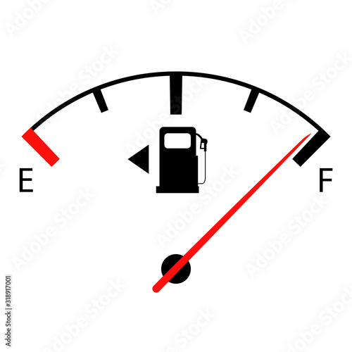 Obraz na plátně Fuel gauge nearly full with red indicator