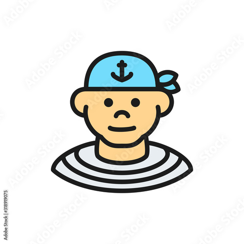 Boatswain, sailor, pirate flat color line icon. Canvas Print