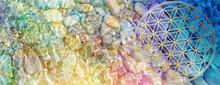 Banner Blume Des Lebens In Kristallklarem, Glitzerndem Wasser Mit Wellen Regenbogenfarbenen Lichts