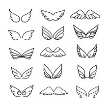 Vector Wings Icon Set. Bird Or...