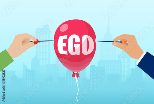 Vector of man and woman hands with needles to burst a balloon with word ego Poster Mural XXL