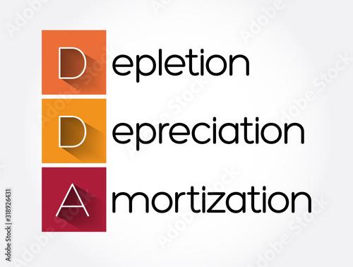 Fototapeta DDA - Depletion Depreciation Amortization acronym, business concept background
