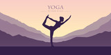 girl makes yoga mountain view purple landscape vector illustration EPS10