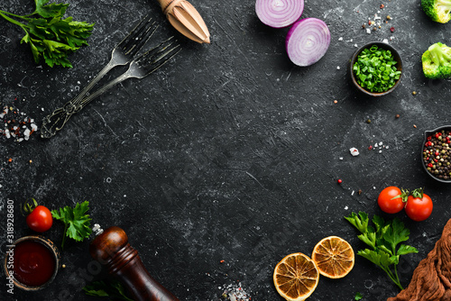Black food background Canvas Print