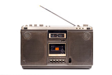 Retro Portable Stereo Radio Cassette Recorder Isolated On White Background