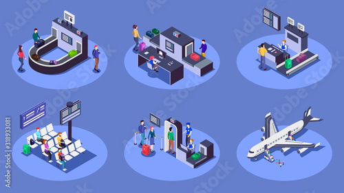 Airport isometric color vector illustrations set Canvas Print