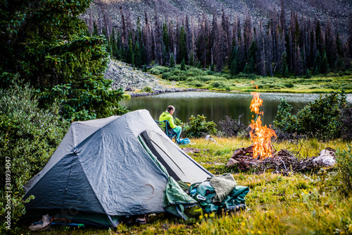 camping by a lake Canvas Print