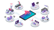 IOT Isometric Color Vector Illustration. Devices Online Remote Control. Smart Home System. Cloud Computing, Electronics Wireless Connection. Internet Of Things 3d Concept Isolated On White Background