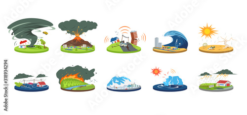 Leinwand Poster Natural disasters cartoon vector illustration set
