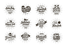 Set Of Vintage Farm And Fresh Products Emblems And Stamps. Organic Food Badges