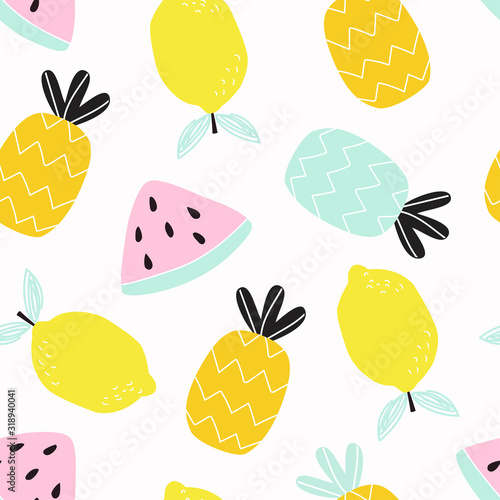 Seamless pattern with lemon, pineapple and watermelon fruits on a white background. Vector illustration for printing on fabric, packaging paper, postcard, Wallpaper, banner. Cute children's background