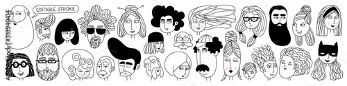 Hand drawn doodle set of people faces Fototapet