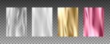 3d Realistic Textures Of Gold Foil, Silk Texture, White Paper, Transparent Plastic Film.