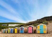 Multi Colored Huts At Beach