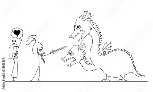 Photo Vector cartoon stick figure drawing conceptual illustration of man in armor or knight going to fight with dragon for his princess of love