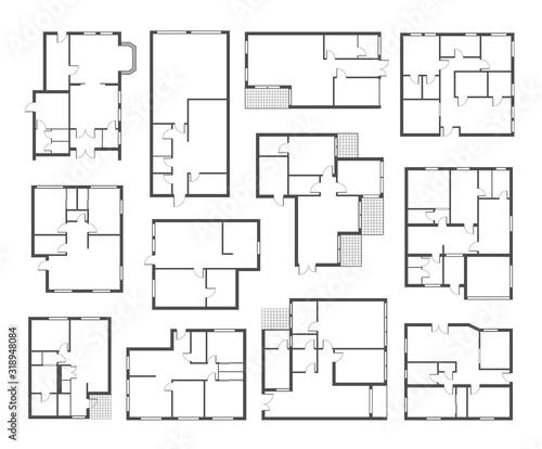 Photo Apartment architectural plans flat vector illustrations set