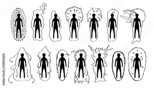 Foto Vector hand drawn black and white versions of the human aura