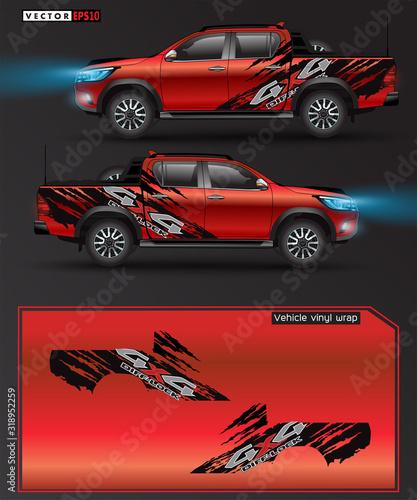 Cuadros en Lienzo 4 wheel drive truck and car graphic vector