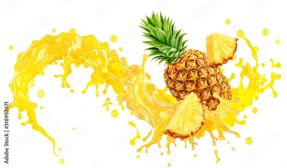 Fototapeta Fresh ripe pineapple, slices cut and pineapple juice splash wave. Healthy food or tropical fruit drink liquid ad label design. Tasty smoothie splash isolated, healthy diet concept on white background