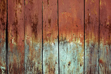 Faded Wooden Boards With Corro...
