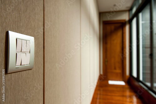 Close-Up Of Light Switch On Wall Canvas Print