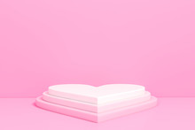 Pastel Pink Heart Shaped Podium Stage Backdrop For Product Display Stand Or Used In Other Designs 3d Rendering. 3d Illustration Template Minimal Style Concept.