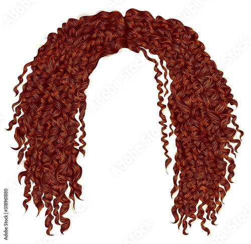 Fotografía trendy curly disheveled african red hair