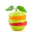 Stack of fresh fruits slices, apple, orange. Colorful healthy vitamin fitness creative fun food concept. Organic raw mixed green apple, fruit for juice vitamins or smoothie isolated on white